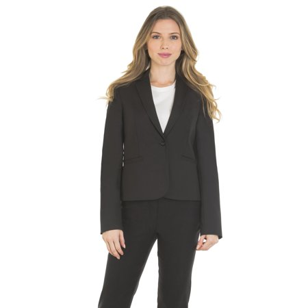 Velucci Womens Classic Basic Blazer One Button Long Sleeve Full Lining, (Black-S)