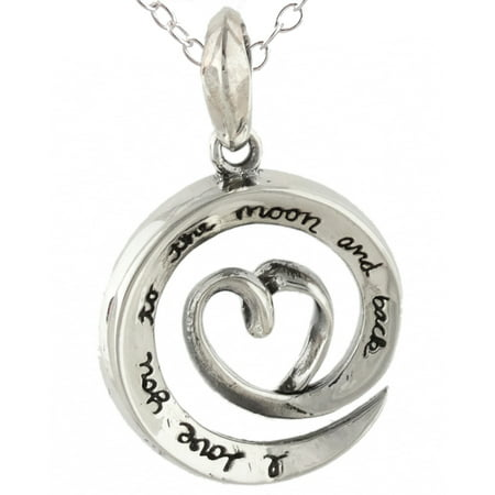 Sterling Silver Love You To The Moon and Back Swirl Necklace, 18