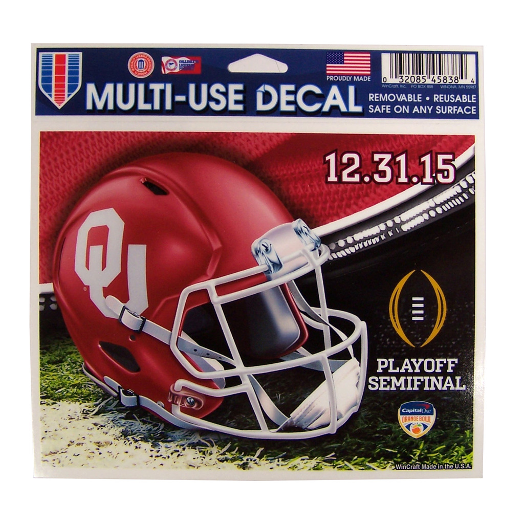 Oklahoma Sooners Official NCAA 5 inch  x 6 inch  2016 Orange Bowl Car Window Cling Decal by WinCraft