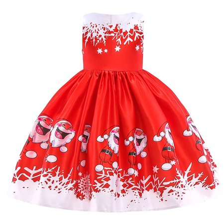 48ad3dfb8d277 Mosunx Toddler Kids Baby Girls Santa Print Princess Dress Christmas Outfits  Clothes