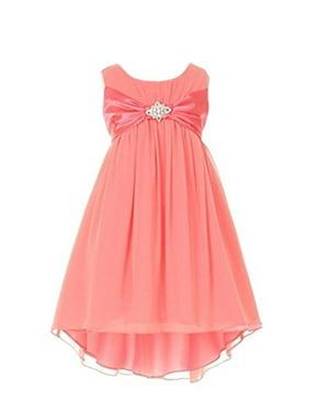 3845ab83d1a Product Image StylesILove Girl s 4-14 Chiffon Dress with Rhinestone Brooch
