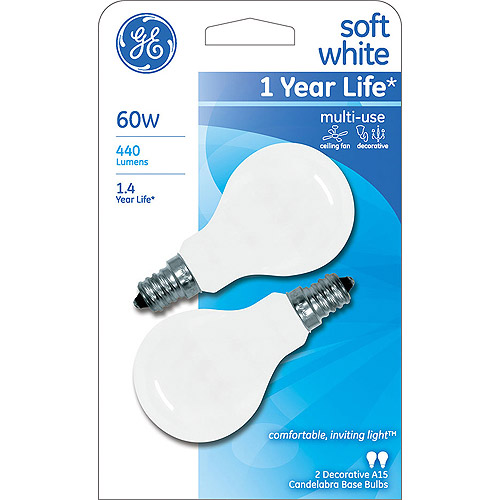 GE INCANDESCENT 60W SOFT WHITE SMALL BASE A15 CEILING FAN BULB 2-COUNT