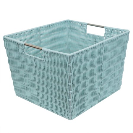 Home Basics X-large Intricate Decorative Weave Plastic Basket, Turquoise ()