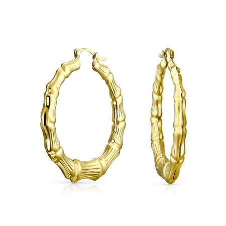 2 Inch Long Earrings - Light Weight Hollow Big Bamboo Hoop Earrings For Women 18K Gold Plated Brass For Women Dia 2 Inch