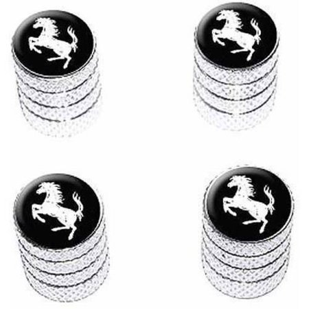 Horse Rearing Up on Black Tire Rim Wheel Aluminum Valve Stem Caps, Multiple Colors ()
