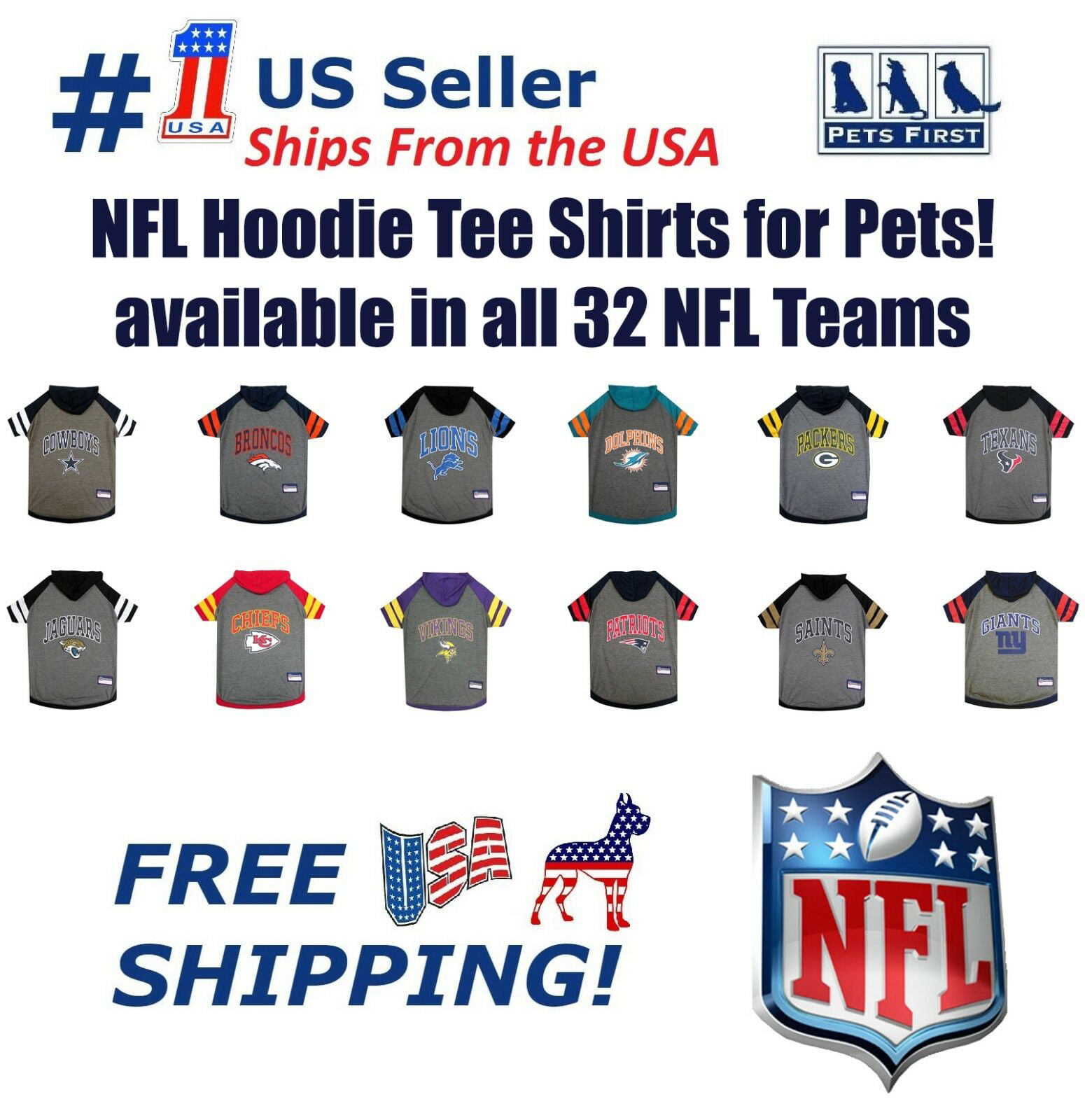 Chicago Bears NFL Pets First Sporty Dog Pet Hoodie Tee Shirt Sizes XS-L