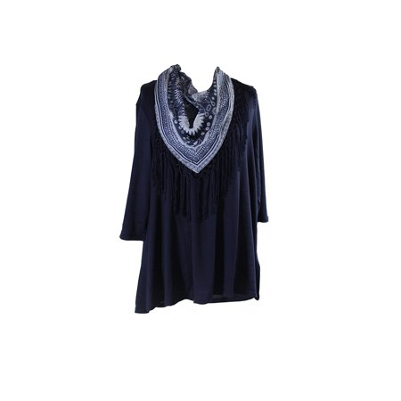 Style & Co. Plus Size Navy Fringed Scarf Top 1X for $<!---->