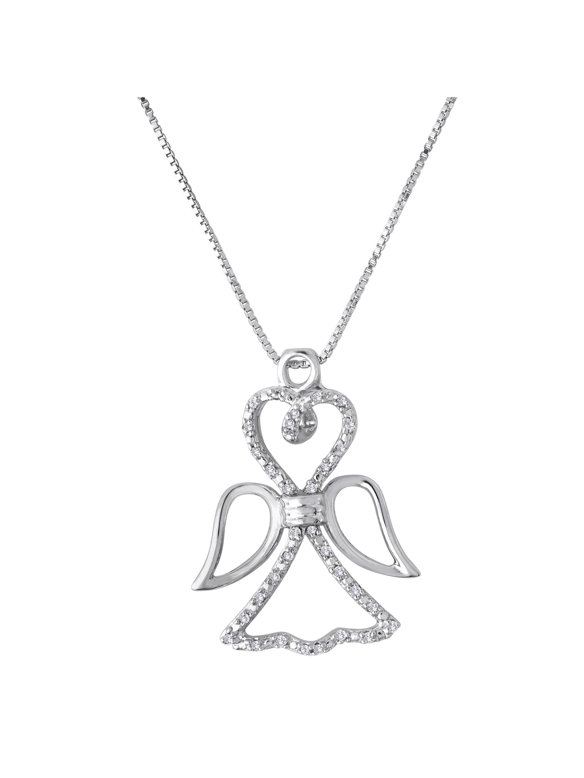 """Knots of Love Sterling Silver 1/10 Carat T.W. Diamond Angel Pendant, 18"""""""