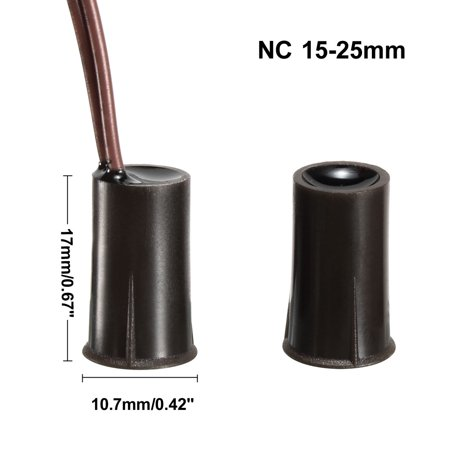 5pcs RC-33 NC Recessed Wire Door Contact Sensor Alarm Magnetic Reed Switch Brown - image 1 de 4
