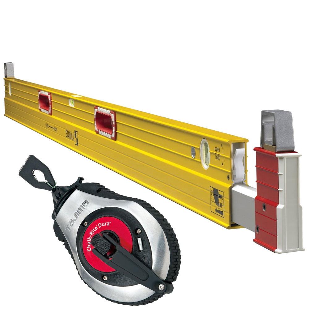 Stabila 35610 6 ft To 10 ft Plate Level Type 106T w  Tajima Chalk Reel by Stabila Levels