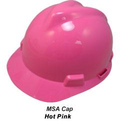 MSA Hard Hat,4 pt. Pinlock,Hot Pink 10155231