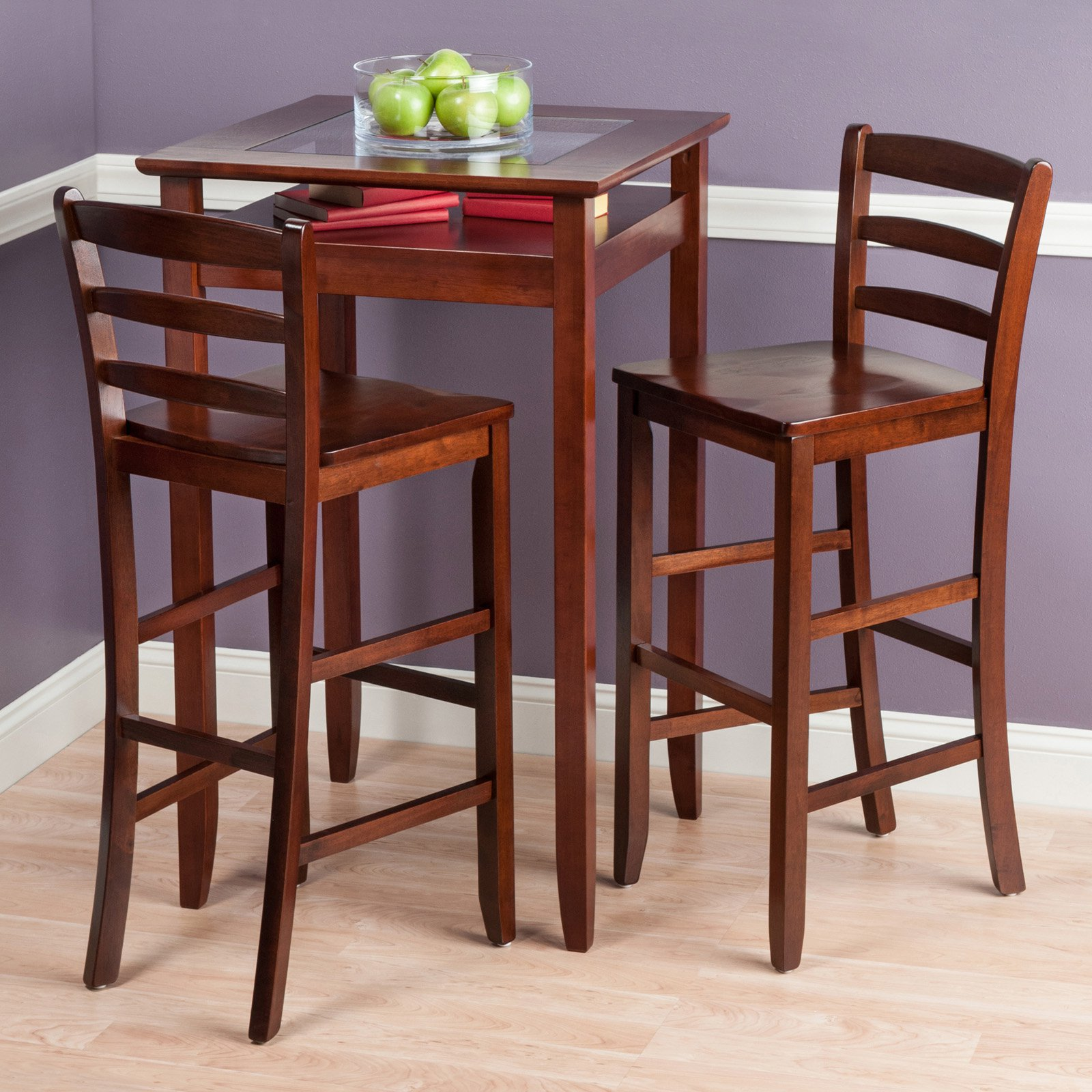 Halo 3pc Pub Table Set with 2 Ladder Back Stools by Winsome Wood