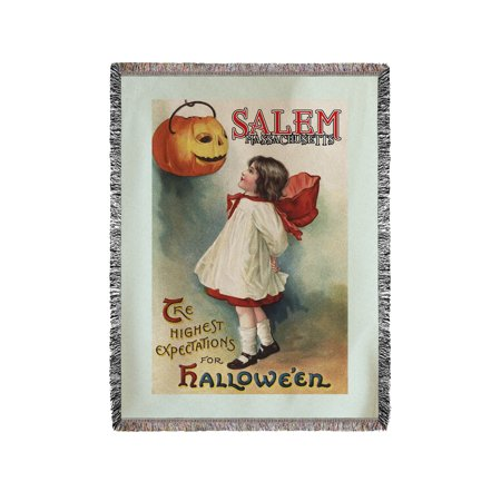 Salem, Massachusetts - Halloween Greeting - Girl in Red and White - Vintage Artwork (60x80 Woven Chenille Yarn - Halloween In Massachusetts