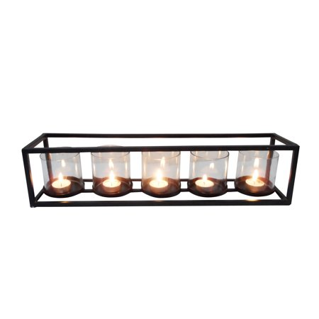 Decmode Contemporary 5 X 22 Inch Iron and Glass Five-Light Rectangular Candle Holder, Black ()