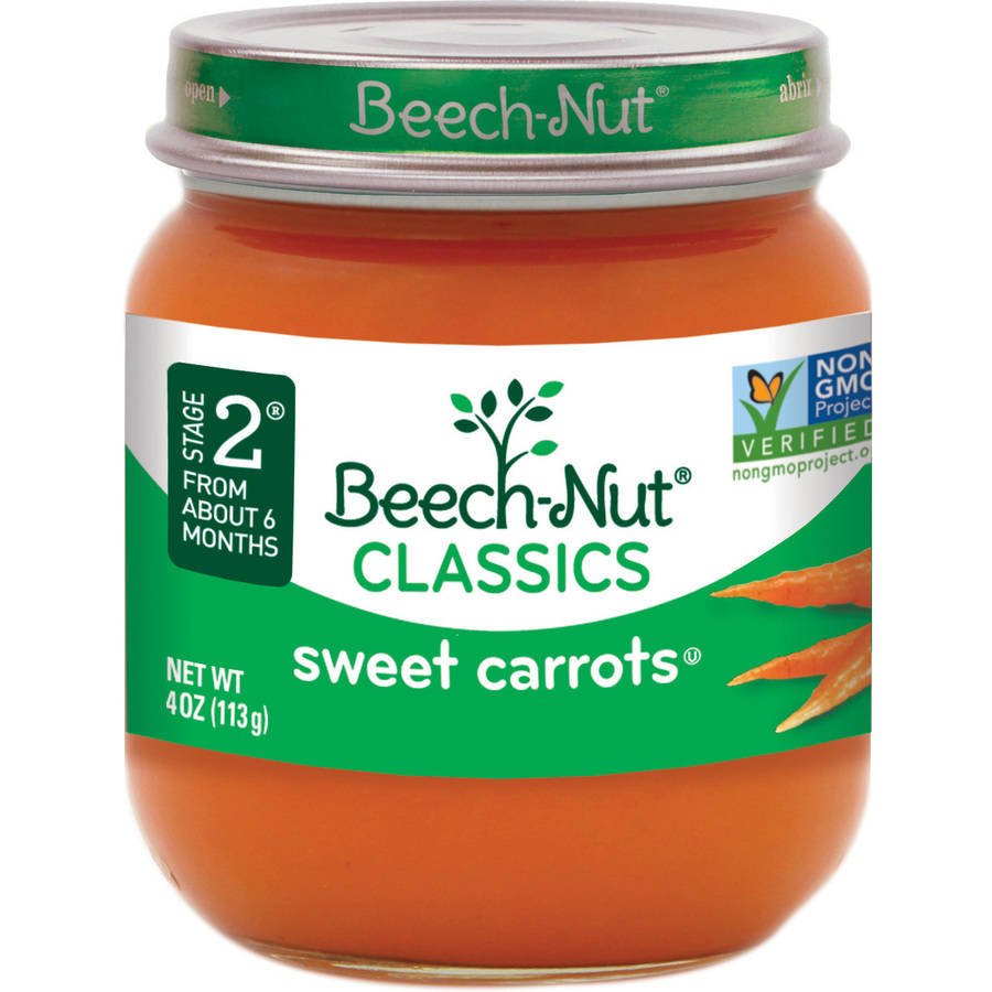 Beech-Nut Classics Stage 2 Sweet Carrots Baby Food, 4 oz, (Pack of 10)
