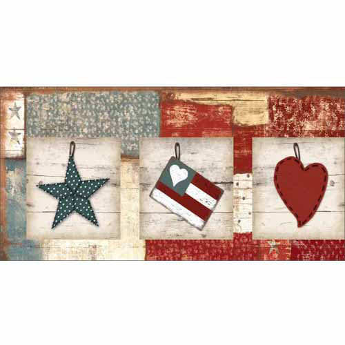 Americana Folk Stitched Star Flag Heart Primitive Wood Grain Textured Distressed Stripes Panels Painting Red & Blue Canvas Art by Pied Piper Creative