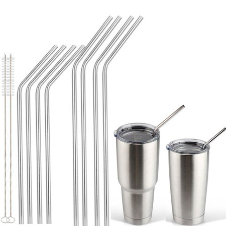 14f09930dde Accmor 18/8 Stainless Steel Straw FDA-approved Durable Reusable Metal Extra  Long Drinking Straw Set (10.5in 6 Straight 6 Bend) Fits 20 30 OZ Yeti Rtic  ...