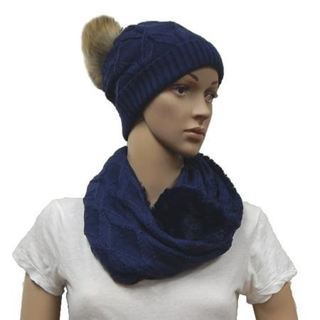 b6c3e24b0472f Beauté Fashion - Beaute Fashion Women s Pom Beanie Hat and Scarf Set with Faux  Fur Pom Pom Fleece Lined