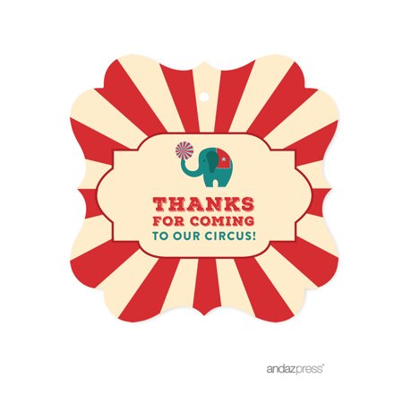Thanks for Coming To Our Circus  Carnival Circus Birthday Fancy Frame Gift Tags, 24-Pack - Halloween Tags For Food