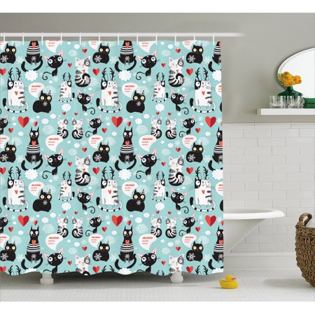 Cat Lover Shower Curtain, Black and White Cats in Love Meow Print among Hearts Daydreaming Kitties Cat Ears, Fabric Bathroom Set with Hooks, 69W X 70L Inches, Multicolor, by Ambesonne (Black Kitty Ears)