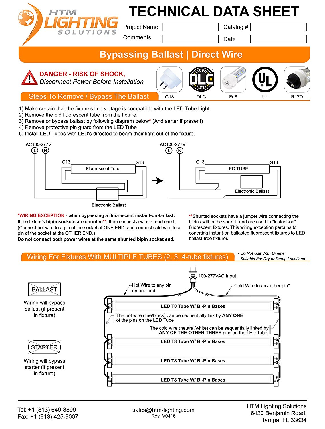 8ft LED Tube Lights for T8 T10 T12 Replacement, 36W (96W Equal), R17d R D Led Tube No Ballast Wiring Diagram on