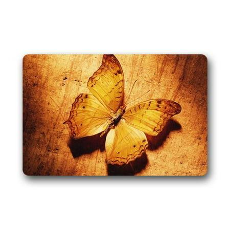 WinHome Sunset Golden Butterfly Doormat Floor Mats Rugs Outdoors/Indoor Doormat Size 30x18 inches](Butterfly Rug)