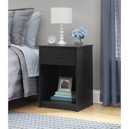 (Mainstays 1-Drawer Nightstand / End Table, Black Ebony Ash)