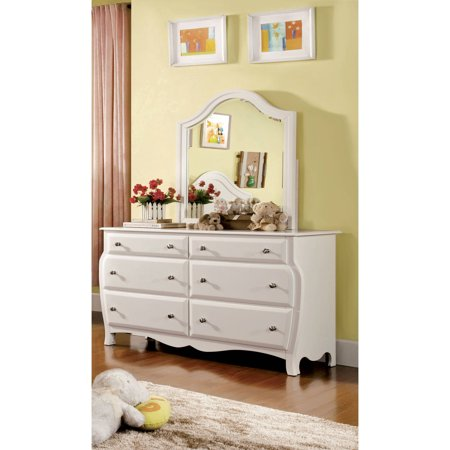- Furniture of America Arlenna Cottage Style Youth Dresser and Mirror Set, White