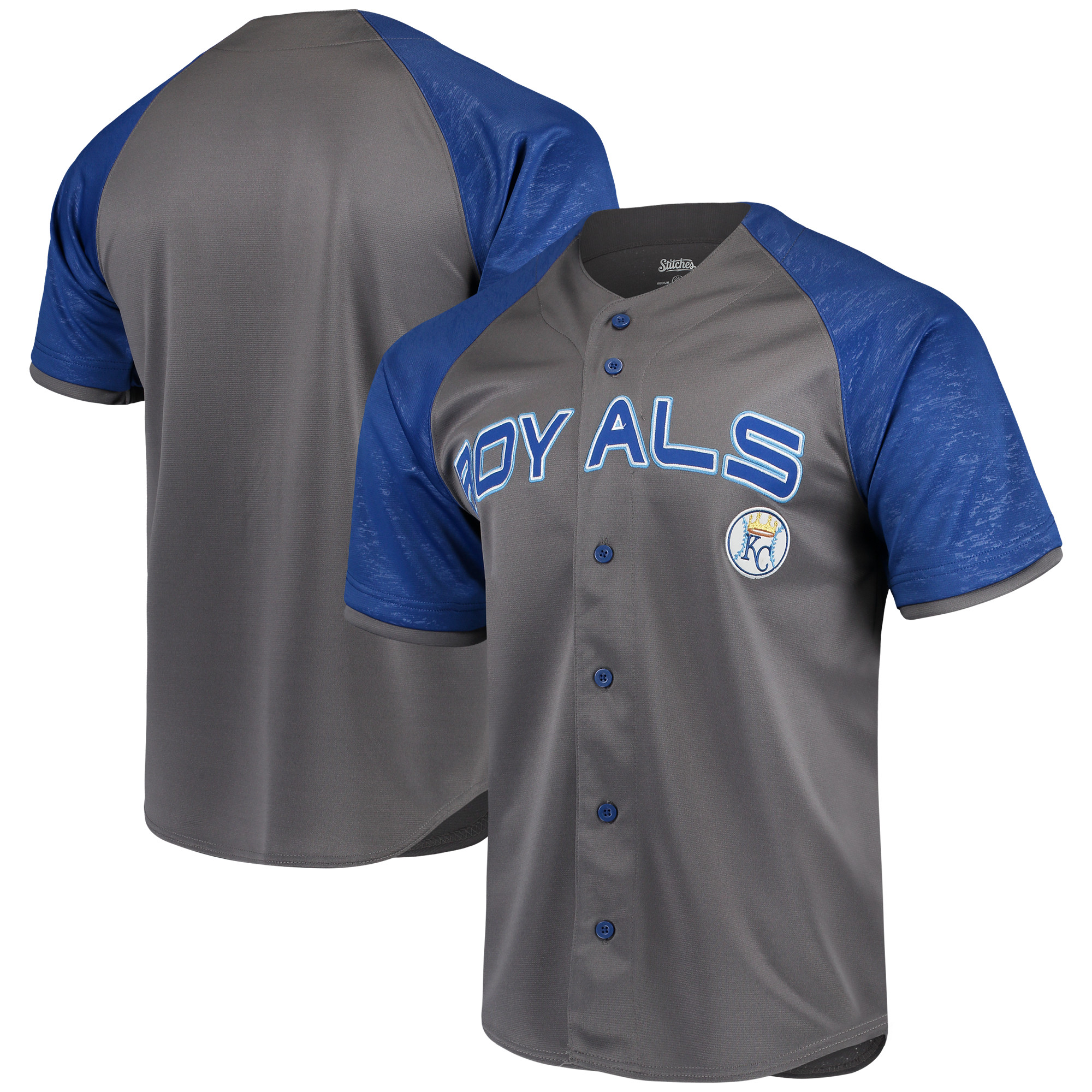 Kansas City Royals Stitches Glitch Jersey - Charcoal/Royal