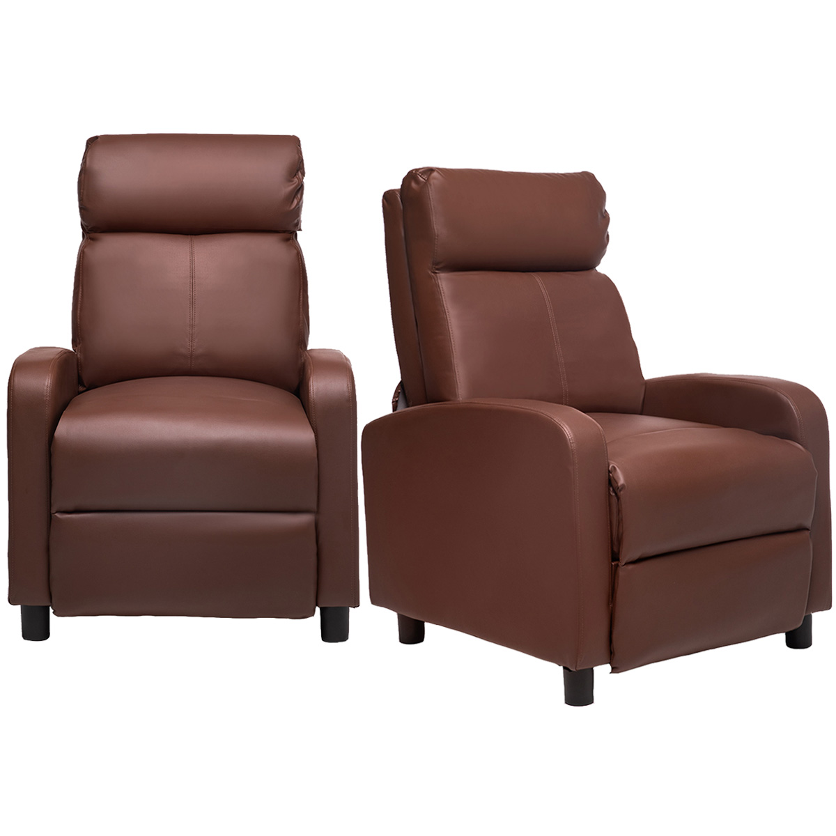 Picture of: 2x Recliner Chair Leather Wingback Chair Sofa For Home Living Room Bedroom Walmart Com Walmart Com