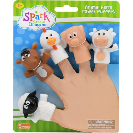 - Spark create imagine animal farm finger puppets, 5 pieces