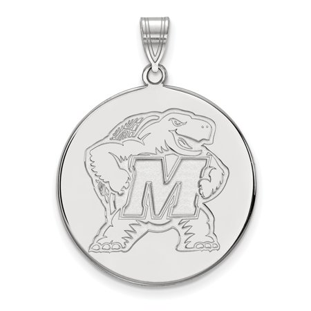 Solid 10k White Gold Maryland Extra Large Disc Pendant - Halloween 10k Maryland