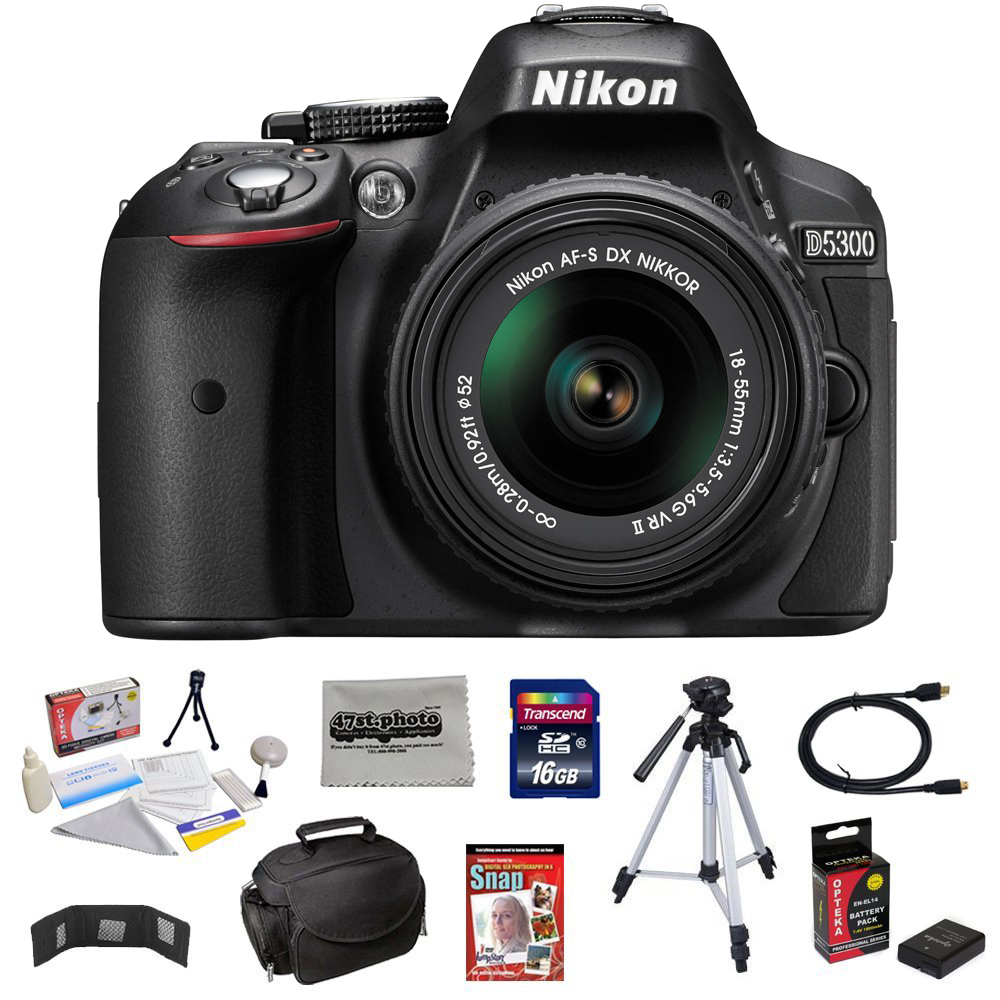 "Nikon D5300 24.2MP Digital SLR Camera with 18-55mm f/3.5-5.6G AF-S DX Lens + 16GB + 54"" Tripod + Deluxe Case + Extra Battery + HDMI Cable + Memory Wallet + Cleaning Kit + Microfiber Cloth"