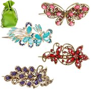 BMC Elegant 4pc Metal Alloy Crystal Fashion Statement Mixed Design Hair Clip Set