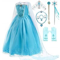 Romy's Collection Ice Queen Blue Party Princess Elsa Costume Dress-Up Set, 4-5