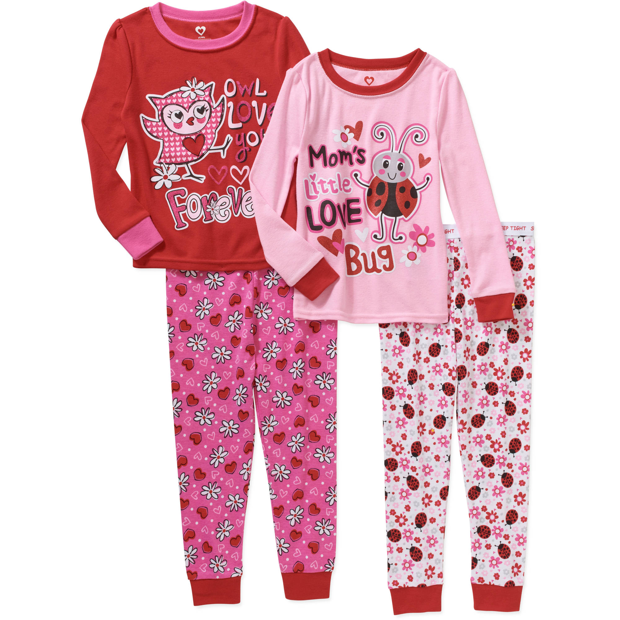 Valentineu0027s Day Toddler Girl Cotton Tight Fit Pajamas, 4 Piece Set