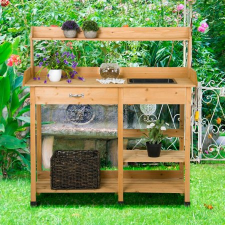 Miraculous Yaheetech Wood Potting Bench With Removable Sink Natural Home Interior And Landscaping Ologienasavecom