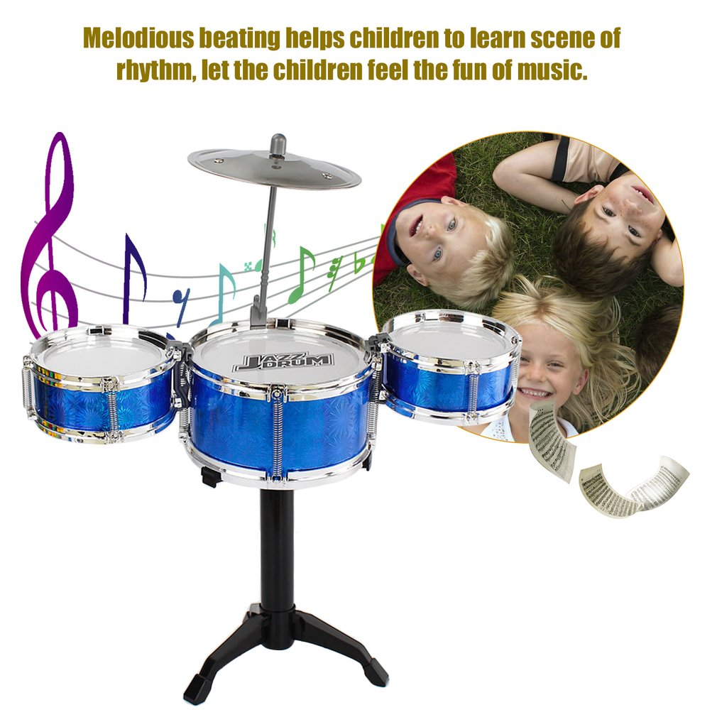 3-Piece Kids Drum Set Children Junior Drums Kit Percussion Musical Instrument by