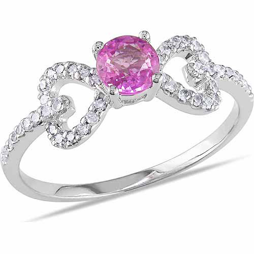 5 8 Carat T.G.W. Pink Sapphire and 1 5 Carat T.W. Diamond 10kt White Gold Bow Ring by Delmar Manufacturing LLC