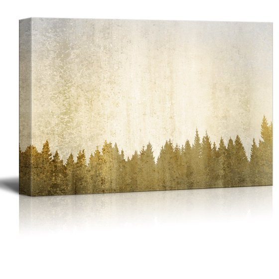 e7cbbc6dd0e wall26 Abstract Tree Canvas Wall Art - White Tree Branch with Leaves on Wood  Style Background - Gallery Wrap Modern Home Decor