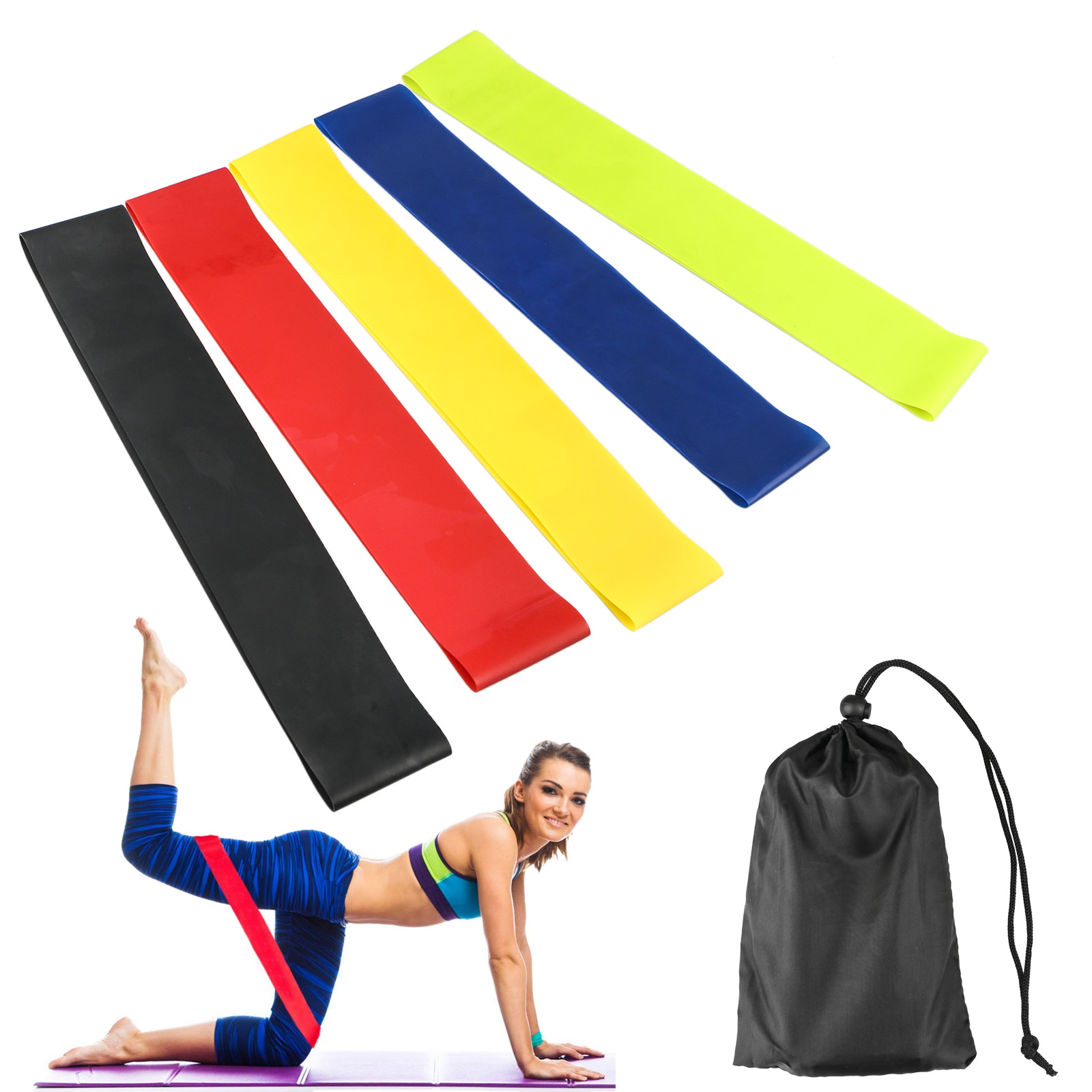 EEEKit 5-pack Loops Exercise Resistance Bands for Home Workout, Pilates, Yoga, Rehab, Physical Therapy, CrossFit, Fitness with Carry Bag