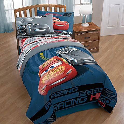 5 Piece Cars Lightning McQueen Boys Twin Comforter, SHeets + BONUS SHAM by Disney