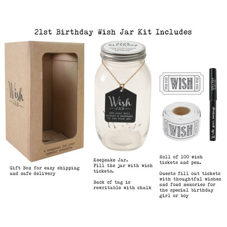 Jar Gift Ideas (Top Shelf 21st Birthday Wish Jar ; Unique Gift Ideas for Daughter, Son, Sister and Brother ; Memorable Gifts for Men and Women ; Kit Comes with 100 Tickets and)