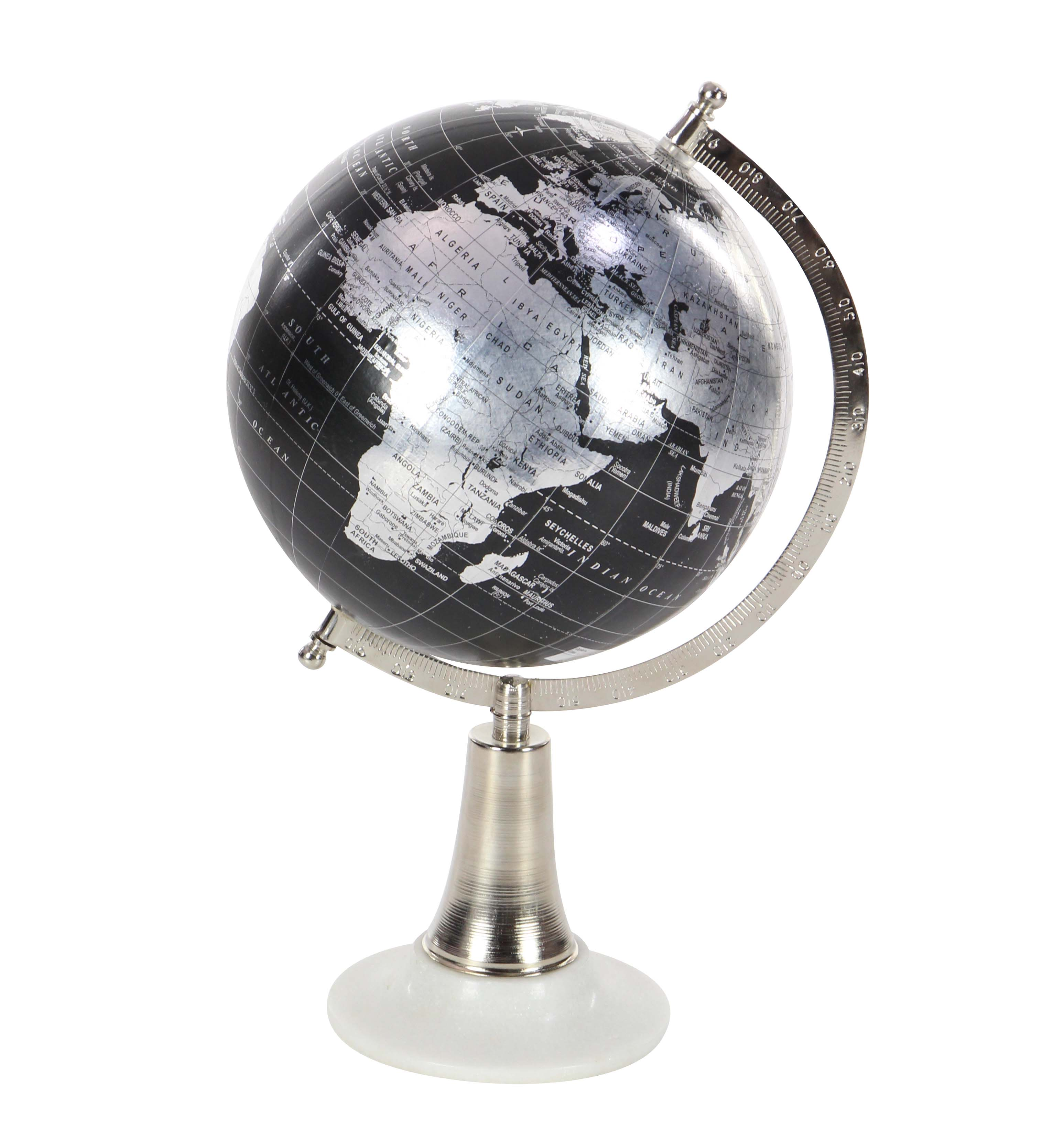 Decmode Contemporary 15 Inch Decorative Globe With Metal And Marble Stand, Black