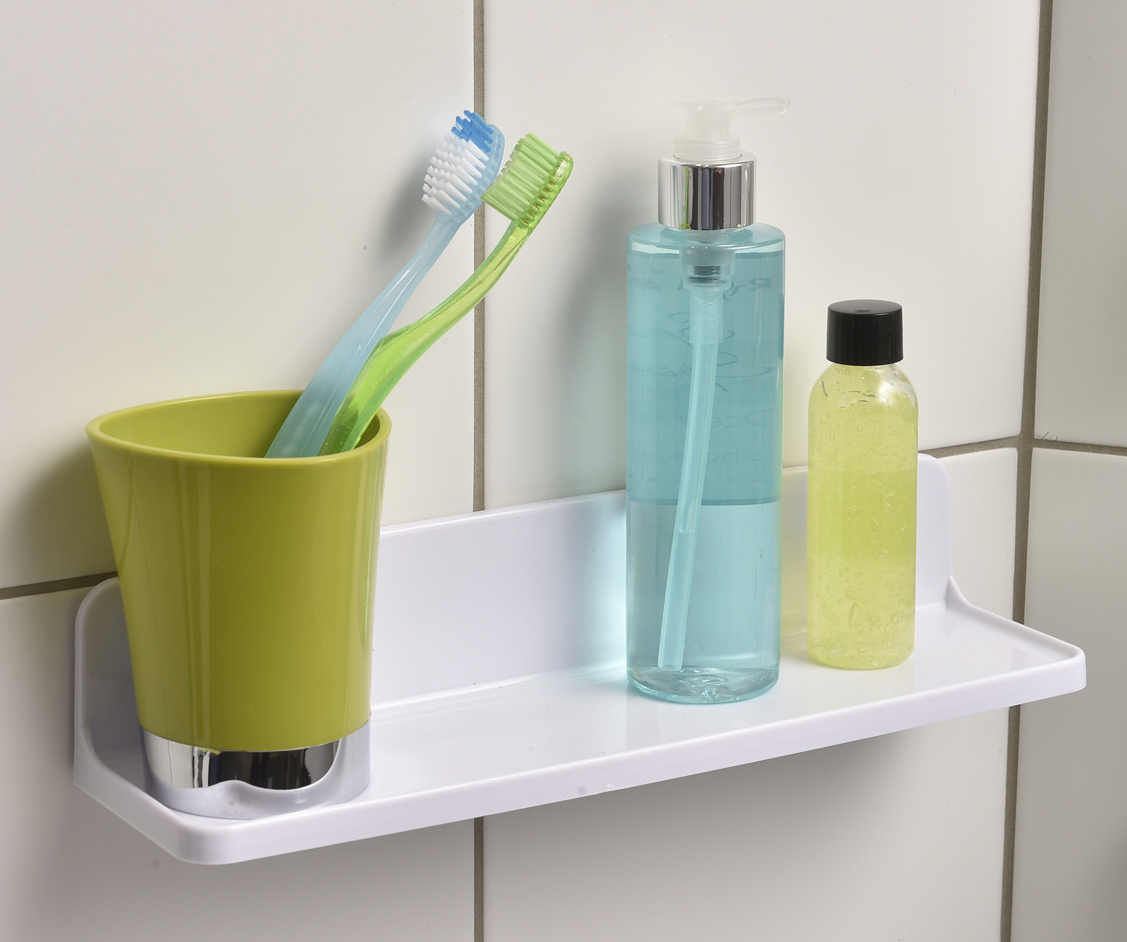 Shower Caddy Shelf Sali Adhesive/Wall Mount White - Walmart.com
