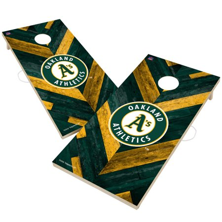 Oakland Athletics 2' x 4' Herringbone Design Cornhole Set - No Size Oakland Athletics Design