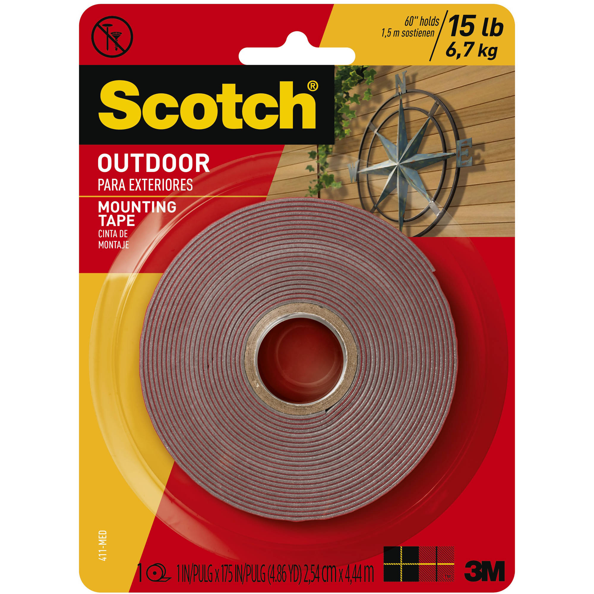 Scotch Outdoor Mounting Tape, 1 in. x 175 in., Gray, 1 Roll/Pack