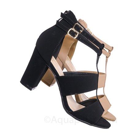 Rosa52 by Top Moda, Chunky High Block Heel Sandal - TStrap Dboule Buckle Open Shoe