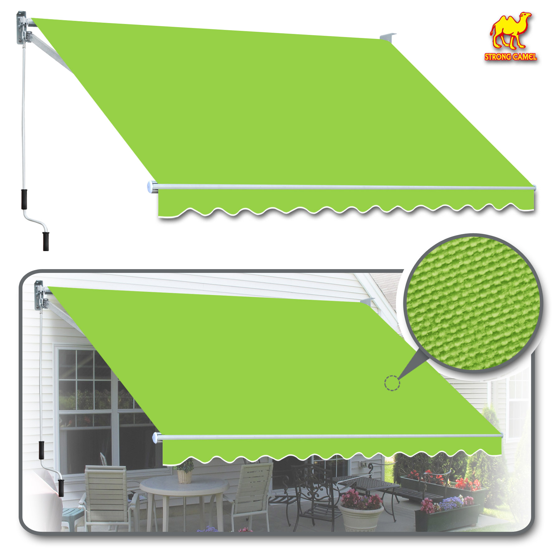 Strong Camel 12' x 8' Manual Retractable Patio Deck Awning ...