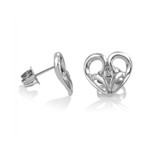 "Jessica Simpson, ""I Am Irresistible"", Sterling Silver Diamond Heart Stud Earrings, .02 ctw."